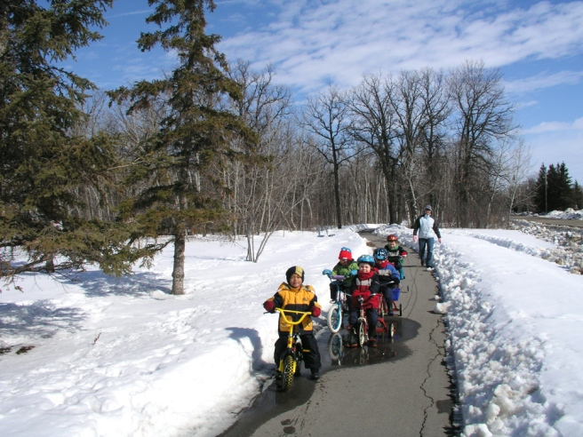 Winnipeg kids cycling in winter