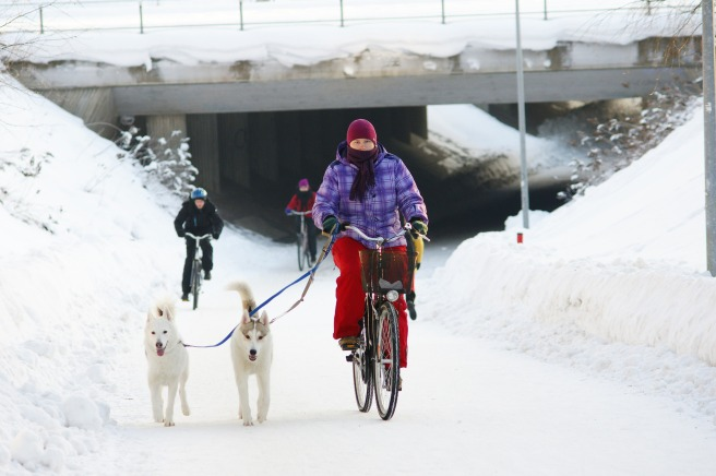 Biking in Oulu, Finland