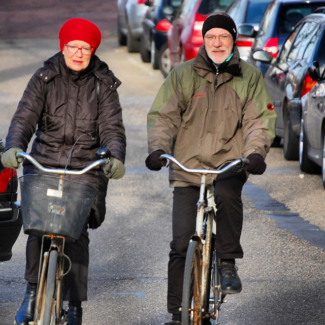 People of all ages cycle year-round in the Netherlands. Photo by Meredith Glaser, https://www.flickr.com/photos/amsterdamcyclechic