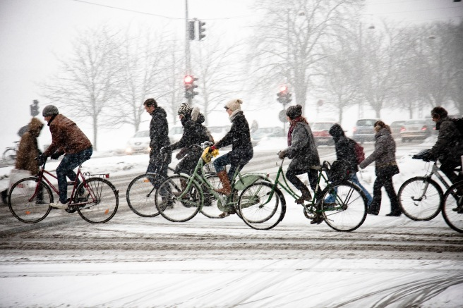 Winter maintenance is a priority in Copenhagen where they are reaching for 50 percent mode share for cycling. Photo by Mikael Colville-Andersen.