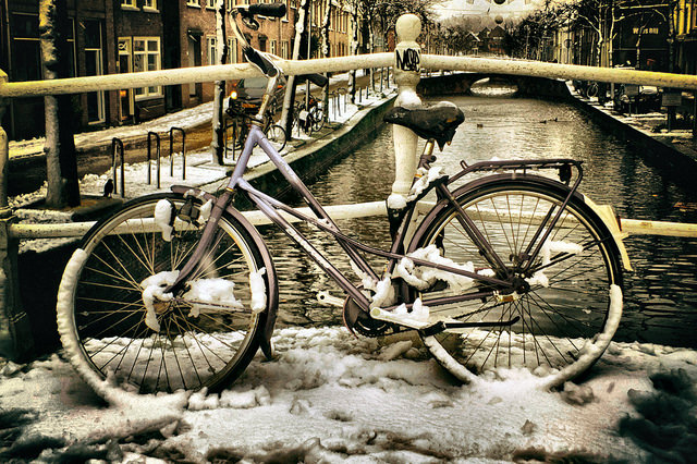 "Winter cycling experiences await #wcc15 delegates in the Netherlands!  Photo ""Fiets brug Dertienhuizen"" by Gerard Stolk, licensed under Creative Commons 2.0, http://bit.ly/1AT6cwT."