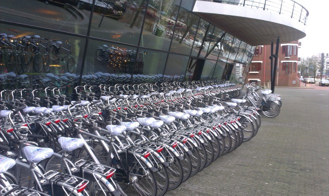 Delegate bikes are available for use during the three days of the congress. Photo by Simon Fessard.