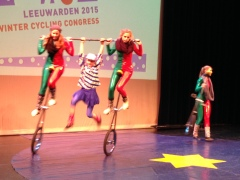 Obviously, the Dutch children's circus involves bicycle acrobatics!