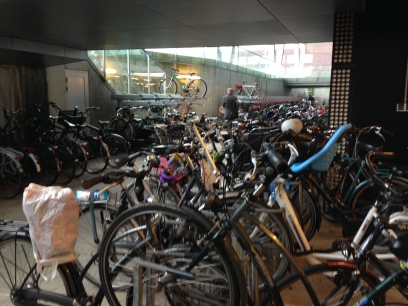 The underground bike parking garage at NHL Hogeschool keeps bikes dry.