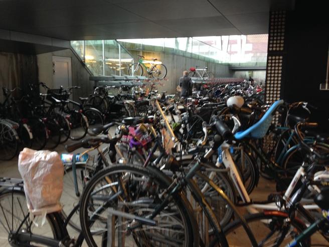 The underground bike parking garage at NHL Hogeschool keeps bikes dry.