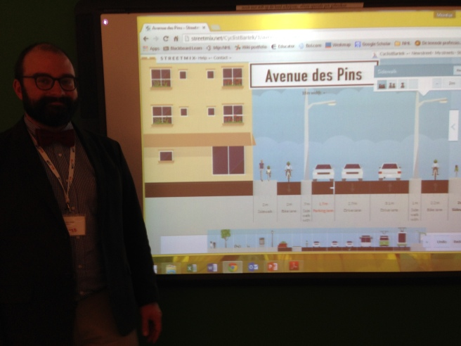 Bartek Komorowski of Velo Quebec shared some great ideas about quick and easy approaches for designing protected bike lanes/cycletracks in North America. In his street design workshop, the group used Streetmix.net to create a new design concept.