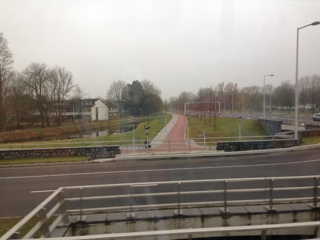 Tunnels beneath the roundabouts in Leeuwarden make crossing safe for cyclists. Photo by Annie Van Cleve.