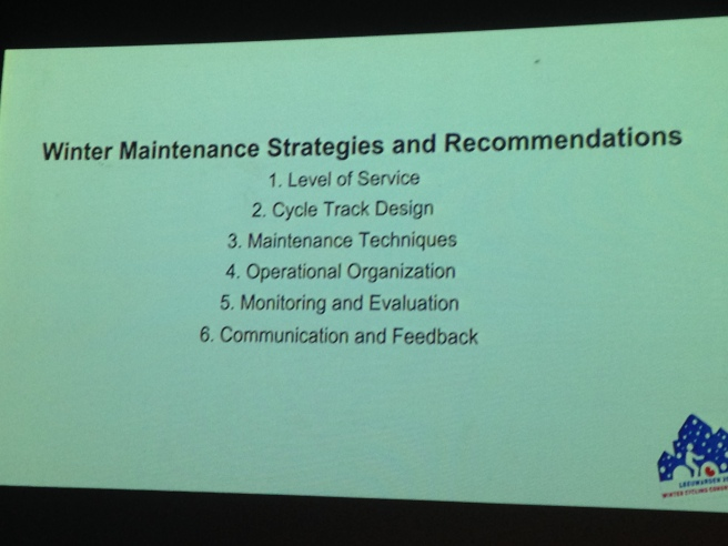 Considerations for developing winter maintenances strategies & recommendations. Slide from Anders Swanson.