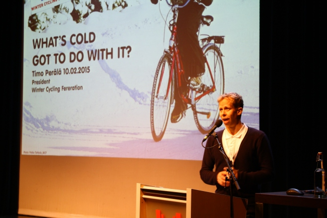Timo Perälä, President of the Winter Cycling Federation and organiser of Winter Cycling Congress Oulu explained the goal of all the winter cycling discussion is to keep the earth cool.