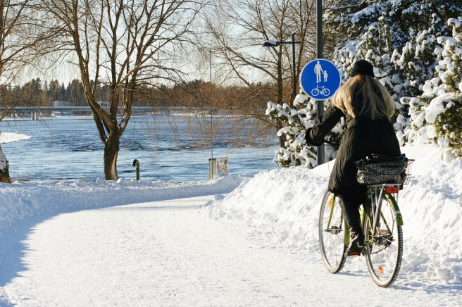 After attending Winter Cycling Congress Oulu, Andrea Weninger of Vienna said Austrians are good skiers but Scandinavians are good winter cyclists. Photo by Pekka Tahkola.